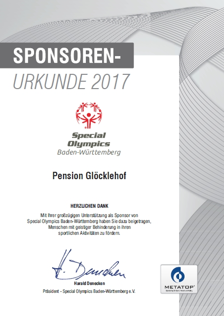 Sponsorship certificate Special Olympics